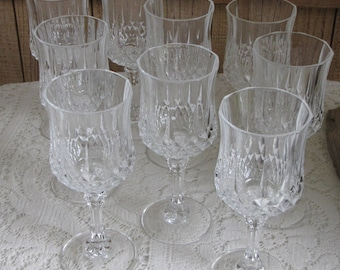 Cristal D'Arques Crystal Wine Glasses Longchamps Pattern Vintage Barware Set of Nine (9) Made in France