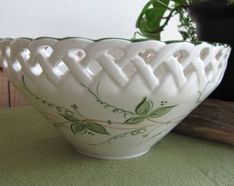 Vintage Ceramic Bowl Andrea by Sadek Hand Painted Made in Portugal White Latticed Vine Pattern Centerpiece Home Decor Decorative White Bowl