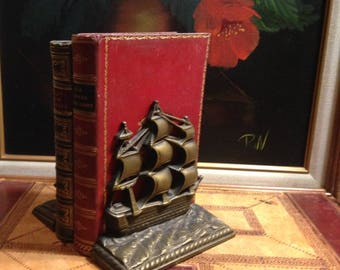 Vintage Pair of Triple Masted Sailing Ships Bookends - Cast Iron with Brass Finish - Shelf Display - Book Holders