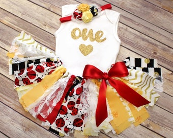 Ladybug and Bumble Bee Fabric Tutu, Bodysuit/Tee/Tank, & Headband // Yellow, Black, Red, Gold, and White // Baby, Toddler, Girl