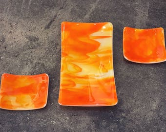 Handmade, orange, fused glass plate set, sushi set, accent piece for your home