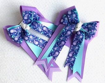 Horse Show Hair Bows/blue Purple Paisley Equestrian Clothing/Ready2Mail