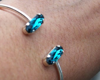 925 silver bracelet and hand made turquoise Swarovski Crystal