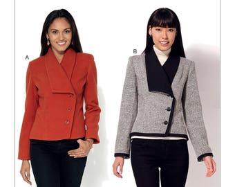Kwik Sew-Sewing Pattern K4191 Misses' Shawl Collar, Diagonal-Closure Jackets