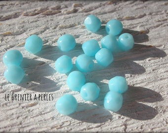 Faceted Bohemian Pastel Turquoise 4 mm X 50
