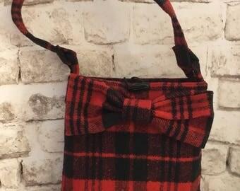 Wool Red and Black Buffalo Plaid Purse