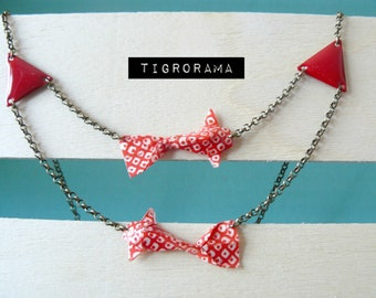 collier origami carpes koï rouges