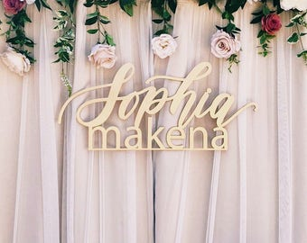"""Custom Large Stacked Names - 1st Birthday Sign - Backdrop Sign - Korean Dol - Laser Cut Wood - Hand Drawn - 35"""" Wide - Ships anywhere in USA"""