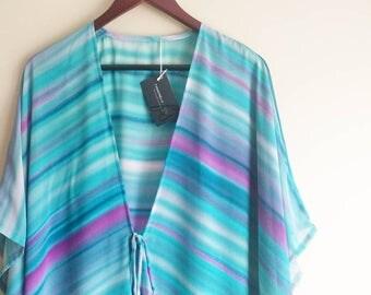 Beach Cover up, Long Kimono, Beach Wear, Swimsuit Coverup, Chiffon, Festival Kimono, Summer Outdoors, Blue Kimono, Ruana Coverup Boho Kimono
