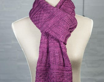 Purple hand knitted shawl scarf