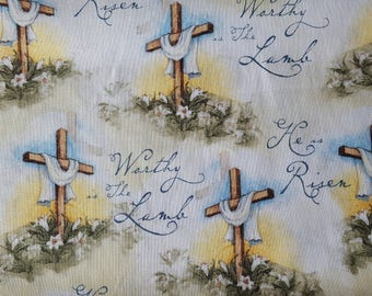 Worthy Is The Lamb Cotton Fabric Sold by the yard