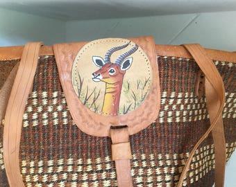 African Sisal Straw Basket Purse,Kenya,Africa, Painted Jezebel