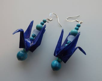 Blue Origami Crane Earrings  Origami Jewelry   Animal Jewelry   Paper Beads   Paper Origami