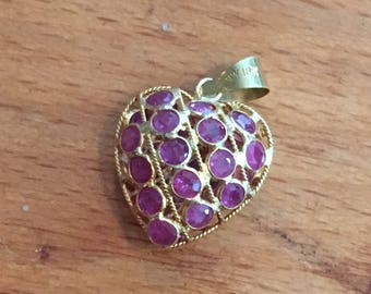 Vintage 18K Puffy Heart Pendant with Rubies