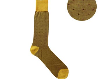 Summer Weight Pin Dot Yellow Red Mid Calf Dress Socks