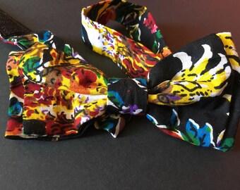 Noeud Papillon double en tissu africain wax imprimé fleurs floral motifs liberty