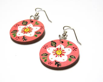 Portrait of a Lady Hand Painted Wooden Earrings