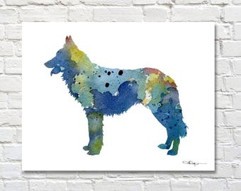 Dutch Shepherd Art Print - Abstract Watercolor Painting - Dog  - Wall Decor