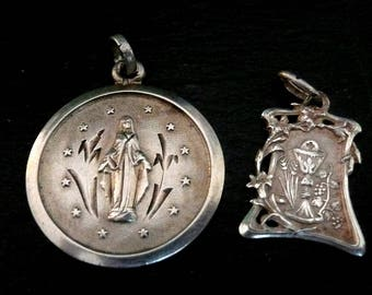 Vintage French Silver Religious Medals