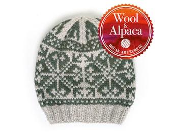 Hand Knit Selbu Hat, Norwegian Hat, Wool Hat, Adult Hat, Knitted Hat, Alpaca Hat, Winter Hat, Slouchy Beanie, Winter Beanie, Ready To Ship