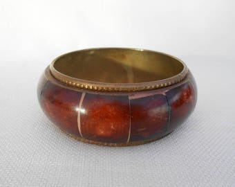Brass and Wood Bangle - Brown - Boho Bracelet - Vintage Costume Jewellery - Festival Jewelry - Chunky Bangle - Hippy Bangle - Wood Bangle
