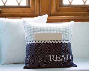 Pocket Reading Pillow - Gray Elephants