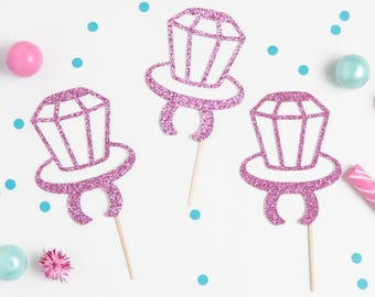 Glitter Ring Pop Cupcake Topper, Ring Pop Party Pick, Pink Ring Cupcake Topper, Gold Ring Topper, Glitter Ring Cupcake Topper