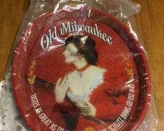 Vintage Old Milwaukee Beer Tray with a Beautiful Lady In Red . . .