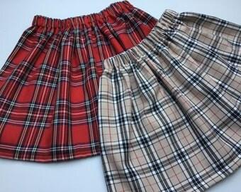 Girls tartan skirt, made in Scotland, Scottish, Tartans, elastic waist, swirly, gathered waist.
