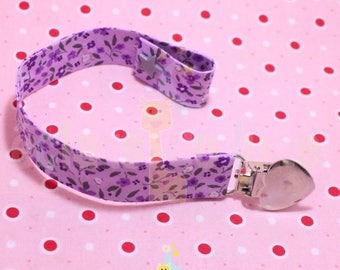 Purple flower pacifier clip pink cotton with snap.