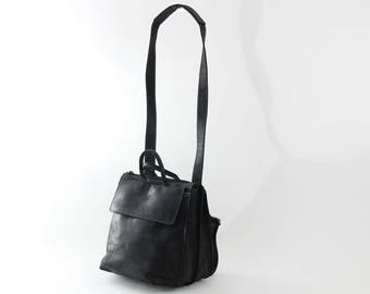 Black Medium Messenger, Leather Tote ,Black Leather Bag, Shoulder Bag, Crossbody Bag , Laptop Bag Women, Work Bag, Office Bag