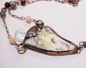1850's - 1860's Dinner plate fragment necklace, wearable artifact from excavation project in South New Jersey