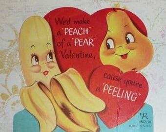 ON SALE till 7/28 Banana and Pear Make an A Peeling Pair Vintage Anthrpomorphic Valentine 1950s