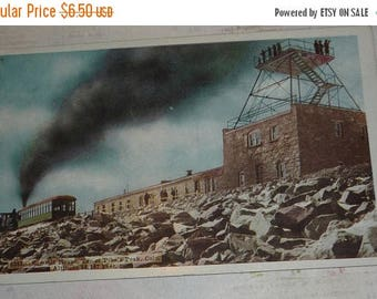ON SALE till 7/28 Summit House on Top of Pike's Peak Colorado Prelinen View Antique Postcard UNUSED