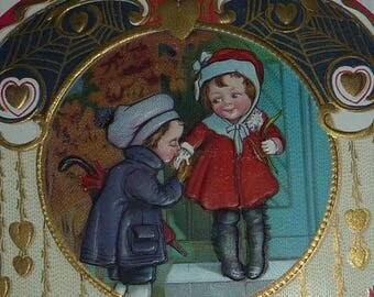 ON SALE till 7/28 Boy Kissing Girl's Hand, Wonderful Art Nouveau Valentine Card