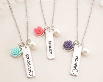 Personalized Bar Necklace - Mommy Necklace - Mommy Jewelry - Grandma Necklace - Little Girls Jewelry - Gift for Girls - Girl Birthday Gift