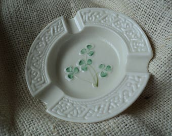 Belleek Ashtray Fine Porcelain from Ireland Emerald Green Shamrocks and Celtic Knot Design Creamy White Irish Pottery Ash Tray Jewelry Dish