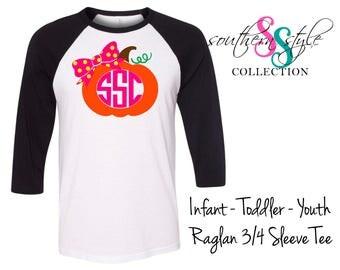 Monogrammed Pumpkin Shirt, Pumpkin Patch Shirt, Monogram Fall Shirt, Cute Girls Shirt, Pumpkin Bow