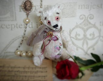 Teddy bear.  White bear. Teddy bear with rococo embroidery.7.2 inches.OOAK