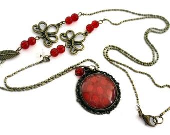 "Bohemian necklace ""red polka dots"" - retro vintage glass brass bronze"