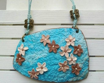 Pendant blue tone Brown-dark necklace with flowers-flowers Brown and turquoise-handmade pendant only one on clay and polymer