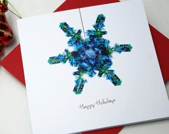 Christmas Card, Glitter Snowflake Card, Holiday Card, Christmas Decoration Card, Hand Finished