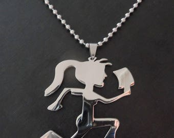 New - ICP  HATCHEGIRL  Polished Stainless Steel pendant with a 30 inch steel ball chain