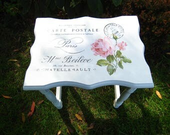 Shabby chic, pretty, small side table, with rose and carte postale vintage decoupage