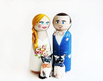 Wedding Cake toppers cat / family Cake topper wedding wood / families four wedding cake figurines - To customize