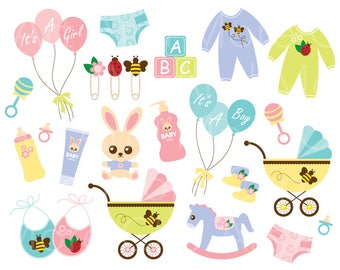 Baby Clipart Clip Art Baby Shower Boy Girl Product Clipart Baby Toy Baby Clothes Stroller Stuff Clipart - Digital Instant Download