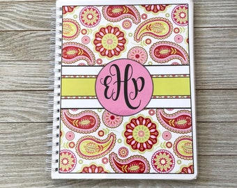 Personalized Salon Yearly Appointment Book with Income Tracking - Paisley Design