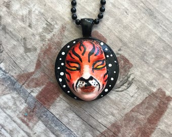 Tiger Face Painted Pendant
