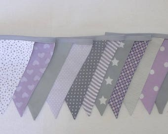 Garland of flags in fabric - grey / purple