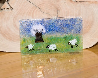 Fused Glass Picture Happy Sheep